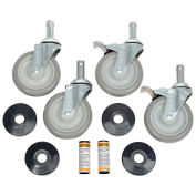 "Stainless Steel Stem Casters, (4) 5"" Poly 2 With Brakes, 1200 Lb. Capacity"