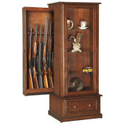 American Furniture Classics 611, Wood Curio Gun Slider Storage Cabinet, 10 Guns