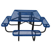 "46"" Steel Square Picnic Table, Surface Mount, Blue"