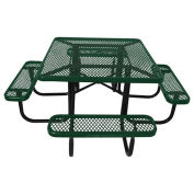 "46"" Steel Square Picnic Table, Surface Mount, Green"