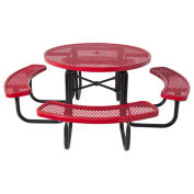 "46"" Steel Round Picnic Table, Surface Mount, Red"