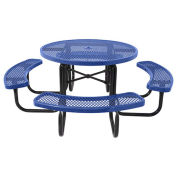 "46"" Steel Round Picnic Table, Surface Mount, Blue"
