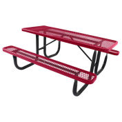 6' Steel Picnic Table, Red