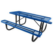 6' Steel Picnic Table, Diamond Pattern, Surface Mount, Blue