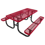 8' Picnic Table, Steel, Red