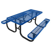 8' Picnic Table, Steel, Blue