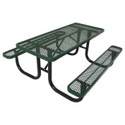 8' Picnic Table, Steel, Green
