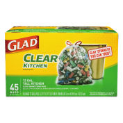 Glad 78543 Recycling Tall Kitchen Drawstring Trash Bags, Clear, 13 Gallon, 0.9 Mil, 45/Box