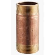 """1"""" x 5"""" Lead Free Seamless Red Brass Pipe Nipple, 140 PSI, Sch. 40"""
