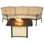 2-Piece Outdoor Lounge Set w/ Cast-top Fire Pit Table