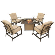 4-Piece Outdoor Lounge Set w/ Cast-Top Fire Pit Table