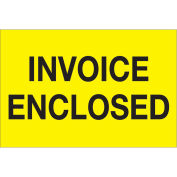 """2"""" x 3"""" Invoice Enclosed Labels, Yellow, 500 Per Roll"""