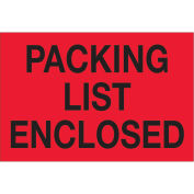 "2""x3"" Packing List Enclosed Labels, Red/Black, 500 Per Roll"
