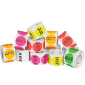 "Tape Logic 2"" Circle Easy Order Months Of The Year Packs 500 Labels Per Roll 12 Rolls, DL1239"