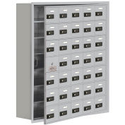 35 Doors Cell Phone Locker with Access Panel, Recessed Mounted, Combo Locks, Aluminum