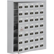 35 Door Cell Phone Locker with Access Panel, Surface Mounted, Combo Locks, Aluminum