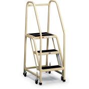 EGA F013 Office Ladder 3-Step, Rubber Surface, Gray, 450Lb. Capacity
