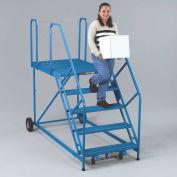 EGA U4-3648WPKD Truck/Dock Ladder 4-Step, Grip Strut, Blue 800Lb. Capacity, Unassembled