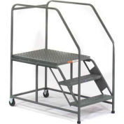 EGA W033 Mobile Work Platform 3-Step, Grip Strut, No Handrails, Gray, 800Lb. Capacity