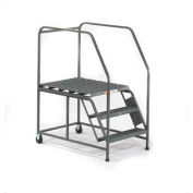 EGA W043 Mobile Work Platform 5-Step, Grip Strut W/ Handrails, Gray, 800Lb. Capacity
