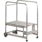"EGA A001H Mobile Aluminum Work Platform 2-Step, Ribbed w/30"" Handrails, 300Lb Capacity"