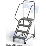"EGA L006 Industrial Rolling Ladder 4-Step, 20"" Wide Perforated, Gray, 450Lb. Capacity"