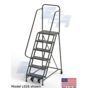 """EGA L008 Industrial Rolling Ladder 6-Step, 20"""" Wide Perforated, Gray, 450Lb. Capacity"""