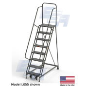 """EGA L055 Industrial Rolling Ladder 8-Step, 26"""" Wide Perforated, Gray, 450Lb. Capacity"""