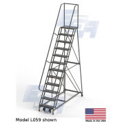 """EGA L059 Industrial Rolling Ladder 12-Step, 26"""" Wide Perforated, Gray, 450Lb. Capacity"""