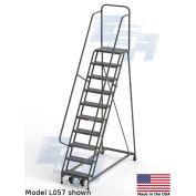 "EGA L084 Industrial Rolling Ladder 10-Step, 30"" Wide Grip Strut, Gray, 450Lb. Capacity"