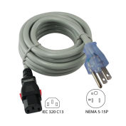 15A, Power Supply Cord with Push Lock, NEMA 5-15P to IEC C19