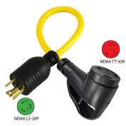 1.5', 20A, Ergo Grip RV Generator Adapter, NEMA L5-20P to NEMA TT-30R