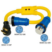 50 Amp, RV Camp Power Y Adapter Cord, NEMA 14-50P to 2- SS2-50R