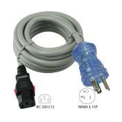 8', 13-Amp, 16/3 SJTW Hospital/Medical Grade Cord with Push Lock IEC C13