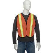 """Hi-Vis Safety Vest, 2"""" Lime/Silver Strips, Polyester Mesh, Orange, One Size"""