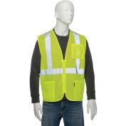 "Class 2 Hi-Vis Safety Vest, 2"" Silver Strips, Polyester Mesh, Lime, Size XL"