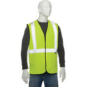 """Class 2 Hi-Vis Safety Vest, 2"""" Silver Strips, Polyester Solid, Lime, Size 2XL/3XL"""