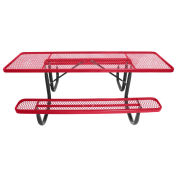 8' ADA Picnic Table, Steel, Double-Sided, Diamond, Red