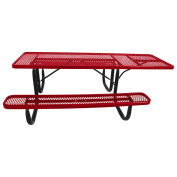 8' ADA Picnic Table, Steel, Single-Sided, Diamond, Red