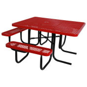 "46"" ADA Square Table, Diamond, Thermoplastic Steel, Red"