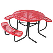 "46"" ADA Round Table, Diamond, Thermoplastic Steel, Red"