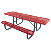 8' ADA Picnic Table, Steel, Single-Sided, Perforated, Red