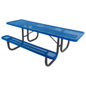 8' ADA Picnic Table, Steel, Single-Sided, Perforated, Blue
