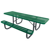 8' ADA Picnic Table, Steel, Single-Sided, Perforated, Green