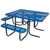 "46"" ADA Square Table, Perforated, Thermoplastic Steel, Blue"