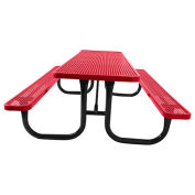 8' Picnic Table, Surface Mount, Red