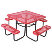 """46"""" Square Table, Perforated, Coated Steel, Red"""