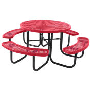 "46"" Round Table, Perforated, Thermoplastic Steel, Red"