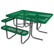 "46"" ADA Square Table, Perforated, Thermoplastic Steel, Green"