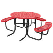 """46"""" ADA Round Table, Perforated, Thermoplastic Steel, Red"""